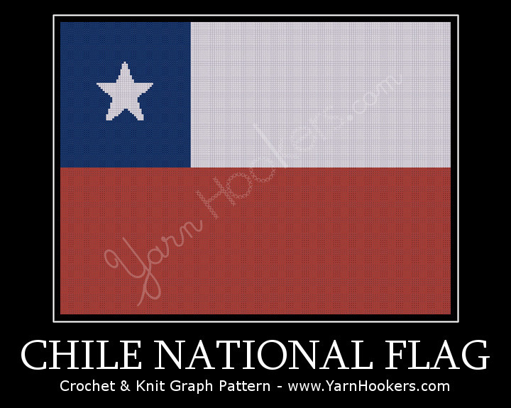 Chile  National Flag - Afghan Crochet Graph Pattern Chart by Yarn Hookers.com