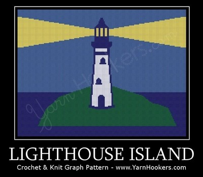 Lighthouse Island - Afghan Crochet Graph Pattern Chart by Yarn Hookers.com