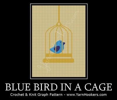 Blue Bird in a Cage - Afghan Crochet Graph Pattern Chart by Yarn Hookers.com