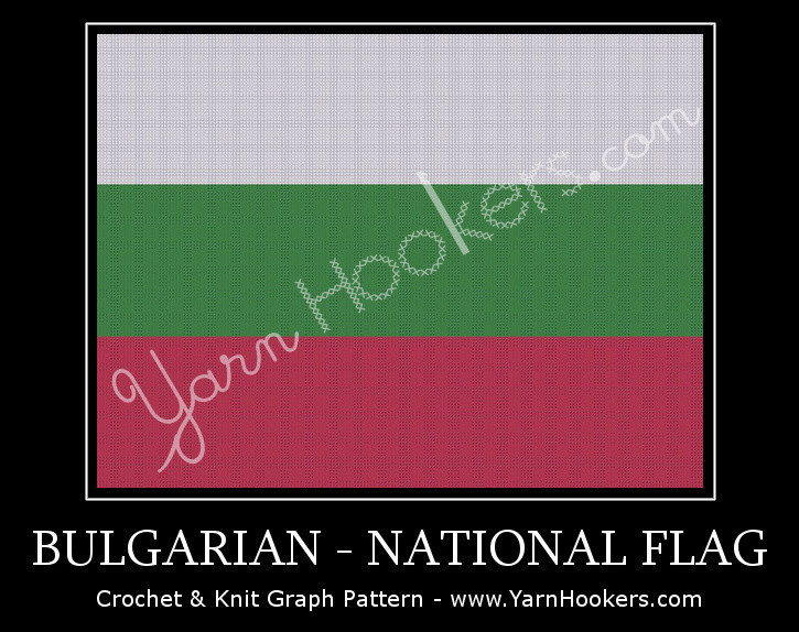 Bulgarian National Flag -  Afghan Crochet Graph Pattern Chart by Yarn Hookers.com