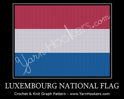 Luxembourg National Flag -  Afghan Crochet Graph Pattern Chart by Yarn Hookers.com