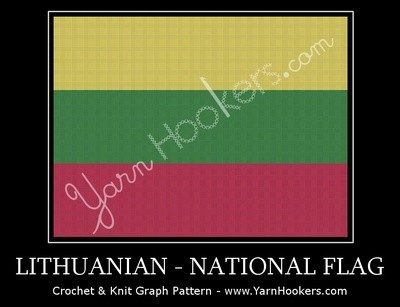 Lithuanian National Flag -  Afghan Crochet Graph Pattern Chart by Yarn Hookers.com