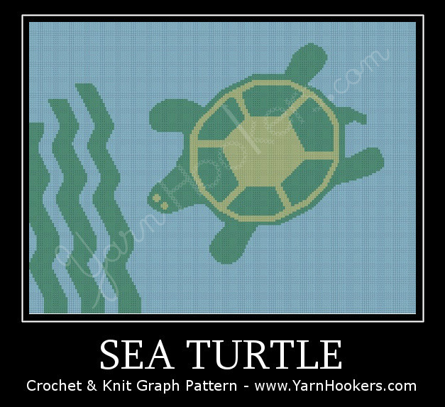 Sea Turtle - Afghan Crochet Graph Pattern Chart by Yarn Hookers.com