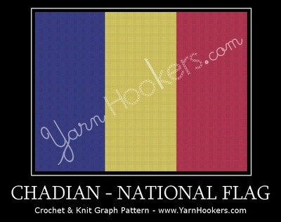 Chad National Flag -  Afghan Crochet Graph Pattern Chart by Yarn Hookers.com