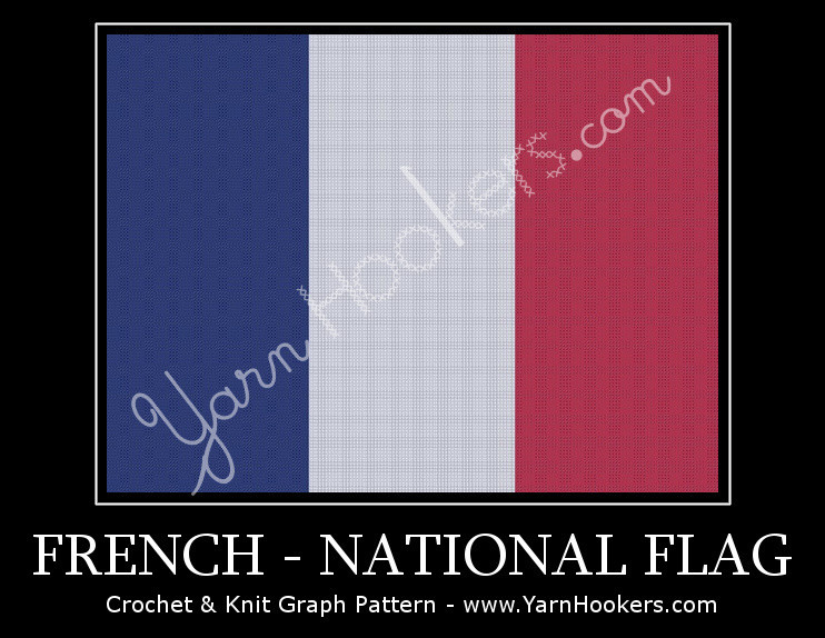French National Flag -  Afghan Crochet Graph Pattern Chart by Yarn Hookers.com