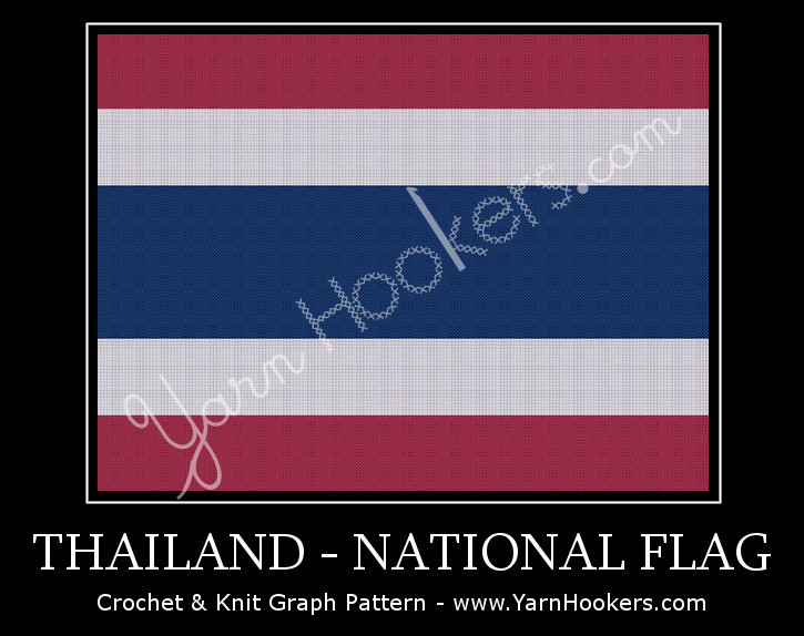 Thailand National Flag -  Afghan Crochet Graph Pattern Chart by Yarn Hookers.com