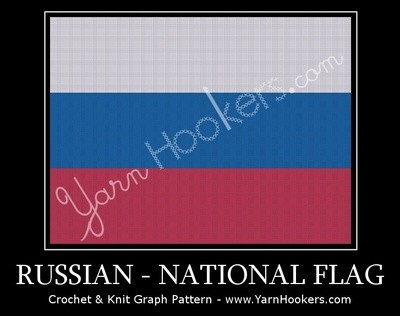 Russian National Flag -  Afghan Crochet Graph Pattern Chart by Yarn Hookers.com