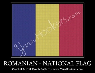 Romanian National Flag -  Afghan Crochet Graph Pattern Chart by Yarn Hookers.com