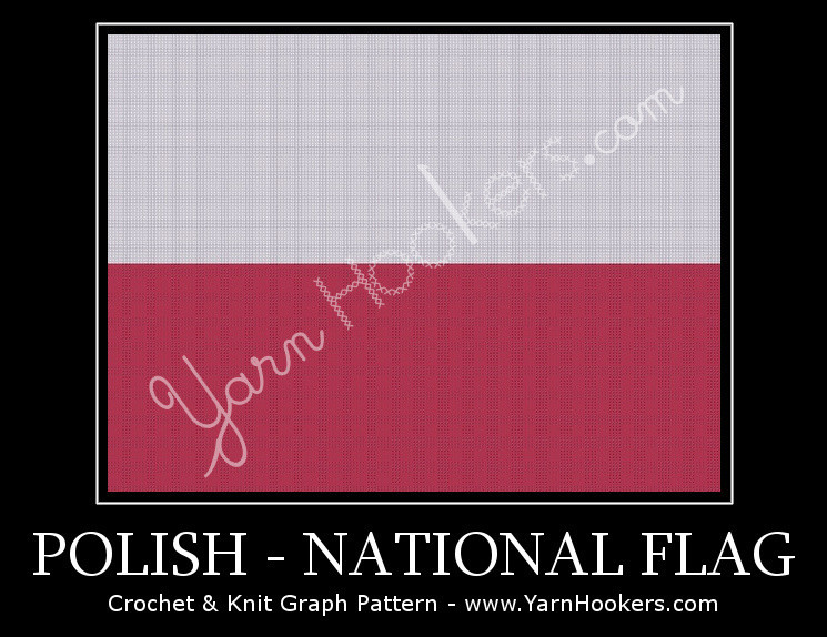 Polish National Flag - Afghan Crochet Graph Pattern Chart by Yarn Hookers.com