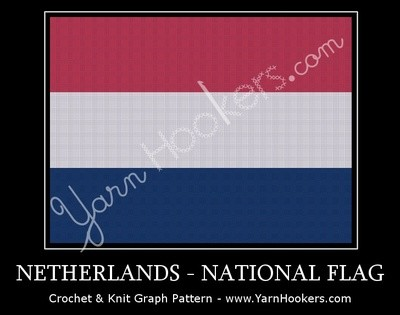 Netherlands National Flag - Dutch - Afghan Crochet Graph Pattern Chart by Yarn Hookers.com