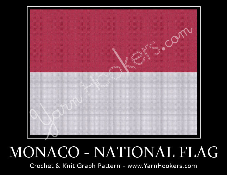 Monaco National Flag - Afghan Crochet Graph Pattern Chart by Yarn Hookers.com