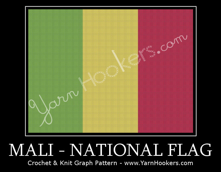Mali National Flag - Afghan Crochet Graph Pattern Chart by Yarn Hookers.com