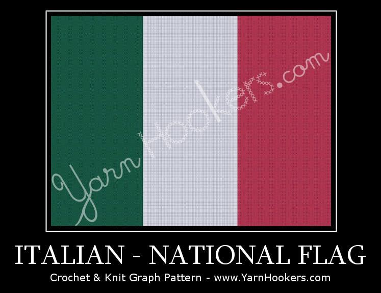Italian National Flag -  Afghan Crochet Graph Pattern Chart by Yarn Hookers.com