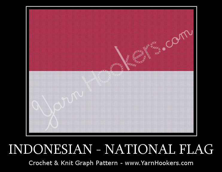 Indonesian National Flag -  Afghan Crochet Graph Pattern Chart by Yarn Hookers.com