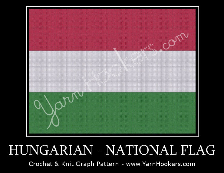 Hungarian National Flag -  Afghan Crochet Graph Pattern Chart by Yarn Hookers.com