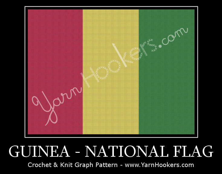 Guinea National Flag -  Afghan Crochet Graph Pattern Chart by Yarn Hookers.com