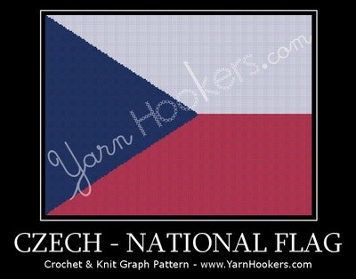 Czech National Flag -  Afghan Crochet Graph Pattern Chart by Yarn Hookers.com