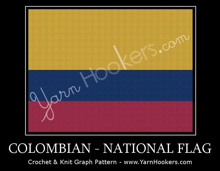 Colombian National Flag -  Afghan Crochet Graph Pattern Chart by Yarn Hookers.com