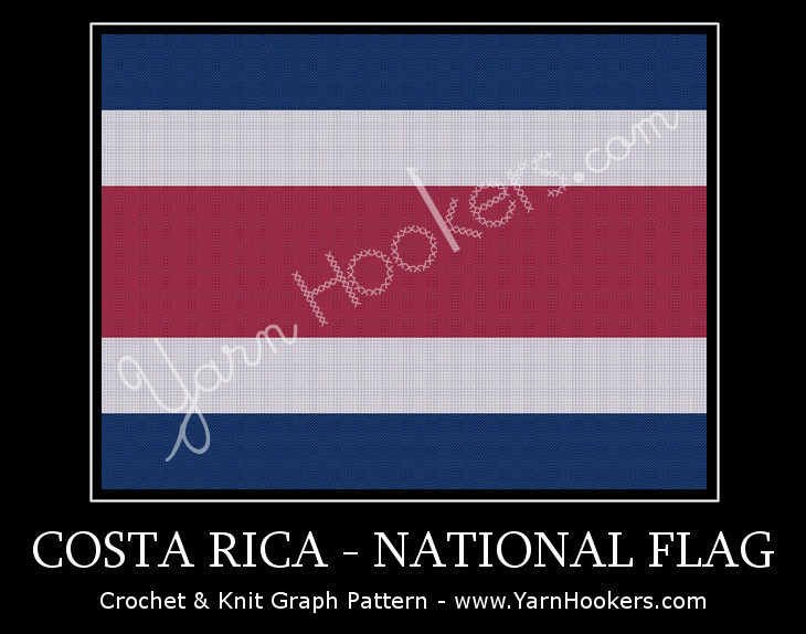 Costa Rican National Flag -  Afghan Crochet Graph Pattern Chart by Yarn Hookers.com