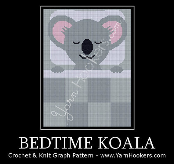 Bedtime Koala - Afghan Crochet Graph Pattern Chart by Yarn Hookers.com