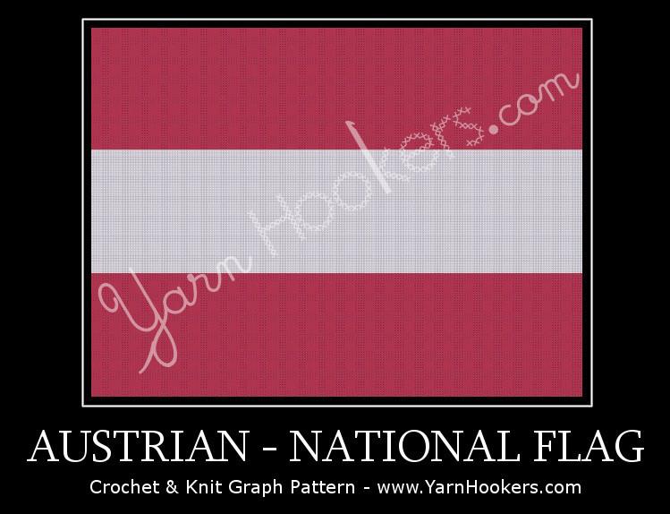 Austrian National Flag -  Afghan Crochet Graph Pattern Chart by Yarn Hookers.com