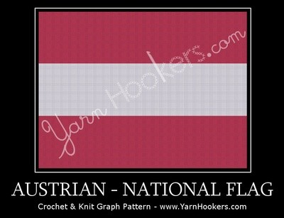 Austrian National Flag -  Afghan Crochet Graph Pattern Chart by Yarn Hookers.com
