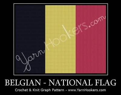 Belgium National Flag -  Afghan Crochet Graph Pattern Chart by Yarn Hookers.com