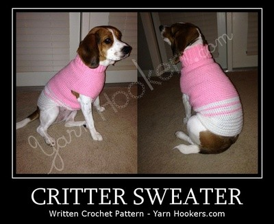 WTS: Critter Sweater (dog/cat) - Written Crochet Pattern