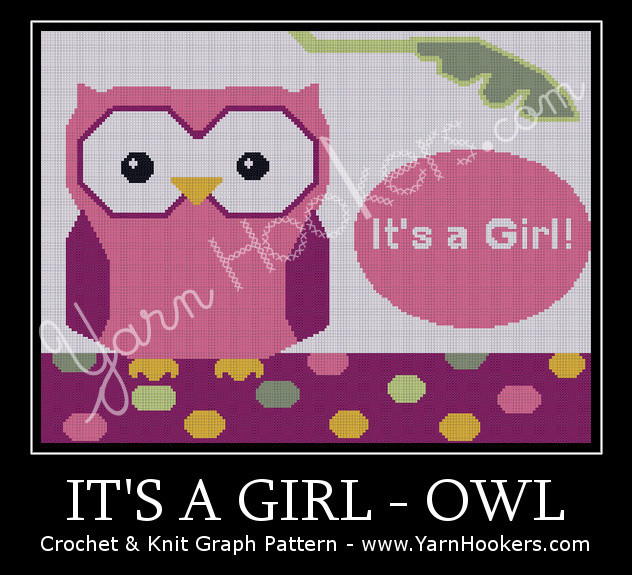 It's a GIRL - OWL - Afghan Crochet Graph Pattern Chart by Yarn Hookers.com