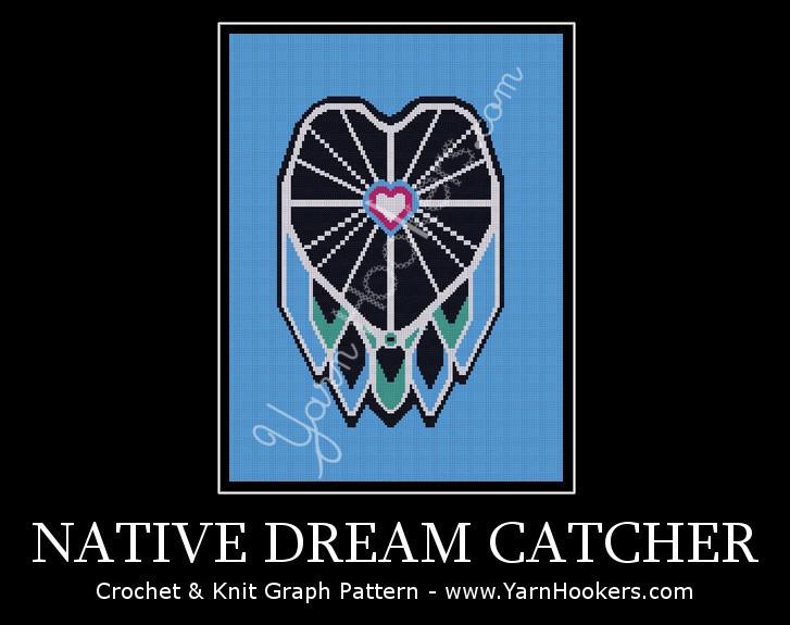 Native Dream Catcher - Afghan Crochet Graph Pattern Chart by Yarn Hookers.com