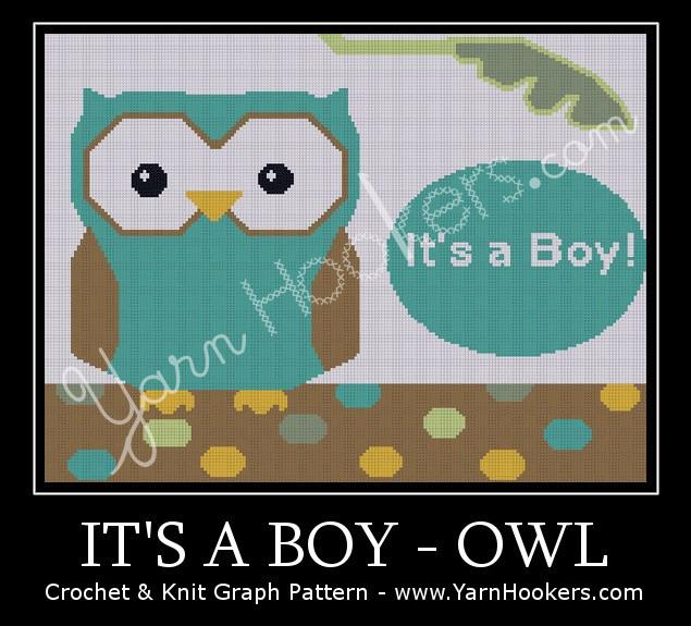 It's a Boy - OWL - Afghan Crochet Graph Pattern Chart by Yarn Hookers.com