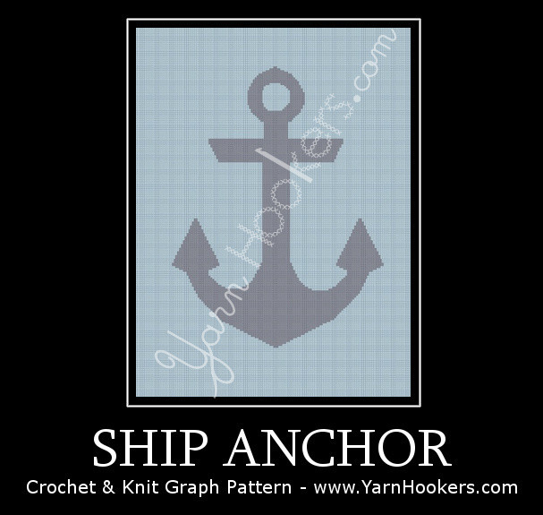 Ship Anchor - Afghan Crochet Graph Pattern Chart by Yarn Hookers.com