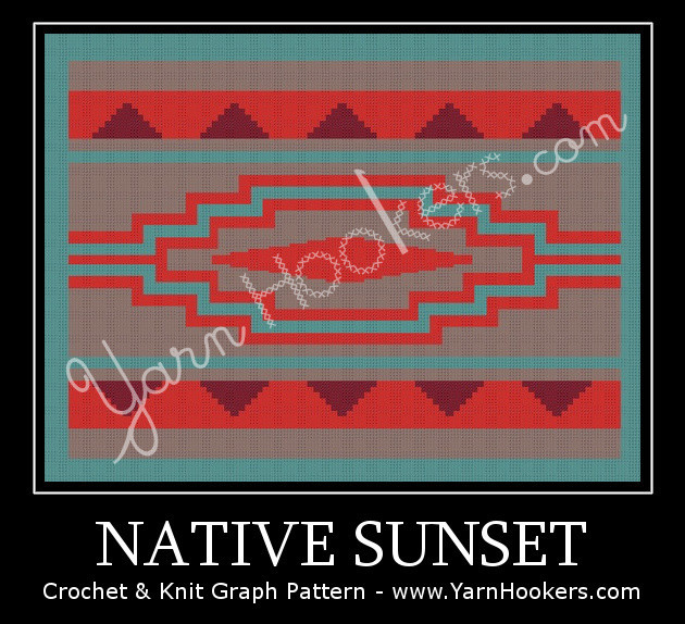 Native Sunset - Afghan Crochet Graph Pattern Chart by Yarn Hookers.com
