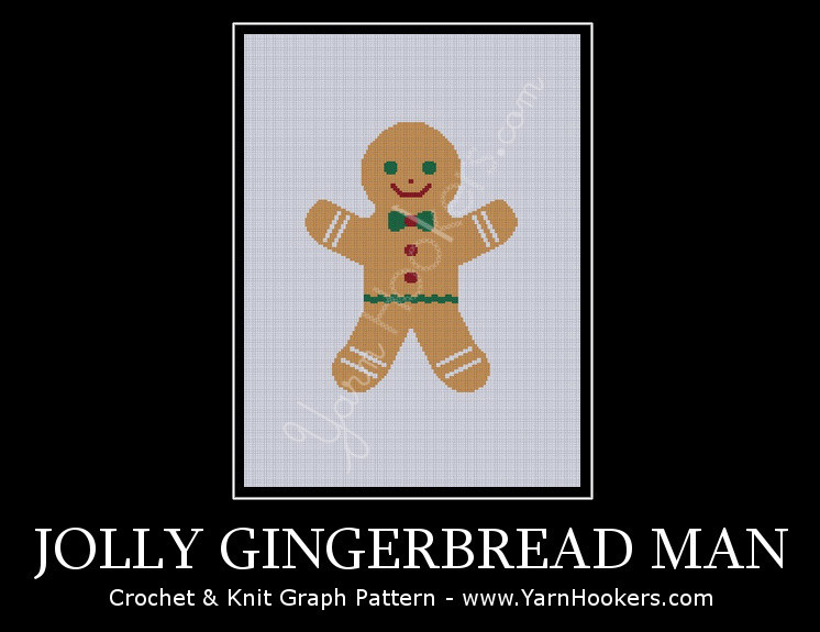 Jolly Gingerbread Man - Afghan Crochet Graph Pattern Chart by Yarn Hookers.com