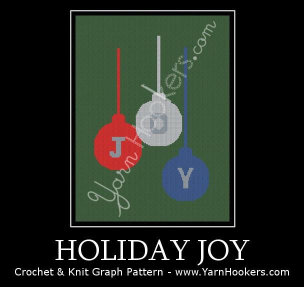Holiday JOY - Afghan Crochet Graph Pattern Chart by Yarn Hookers.com