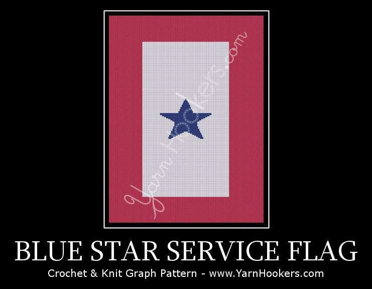 Blue Star Service Flag - Afghan Crochet Graph Pattern Chart by Yarn Hookers.com