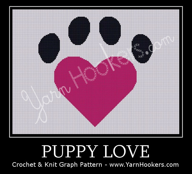 Puppy Love - Afghan Crochet Graph Pattern Chart by Yarn Hookers.com