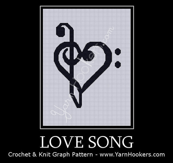 Love Song - Afghan Crochet Graph Pattern Chart by Yarn Hookers.com