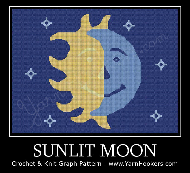 Sunlit Moon - Afghan Crochet Graph Pattern Chart by Yarn Hookers.com