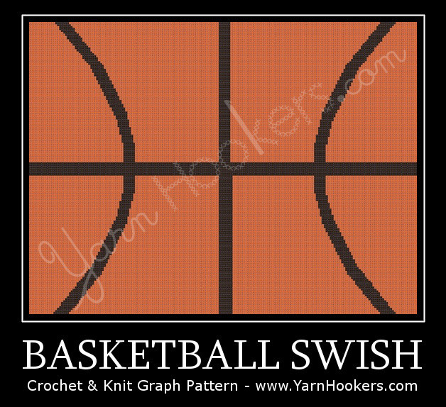 Basketball Swish - Afghan Crochet Graph Pattern Chart by Yarn Hookers.com