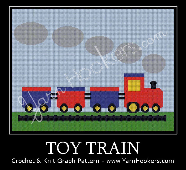 Toy Train - Afghan Crochet Graph Pattern Chart by Yarn Hookers.com