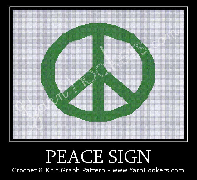 Peace Sign - Afghan Crochet Graph Pattern Chart by Yarn Hookers.com