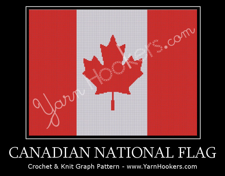 Canadian National Flag - Afghan Crochet Graph Pattern Chart by Yarn Hookers.com