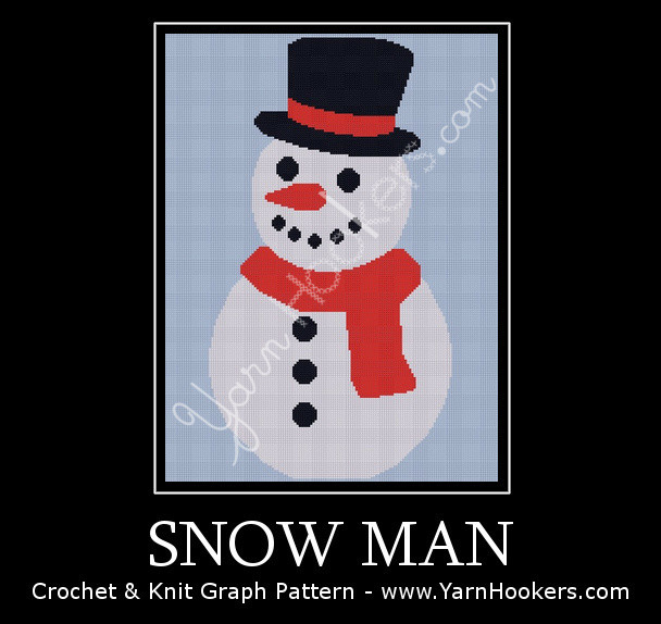 Snow Man - Afghan Crochet Graph Pattern Chart by Yarn Hookers.com