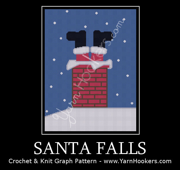 Santa Falls - Christmas - Afghan Crochet Graph Pattern Chart by Yarn Hookers.com