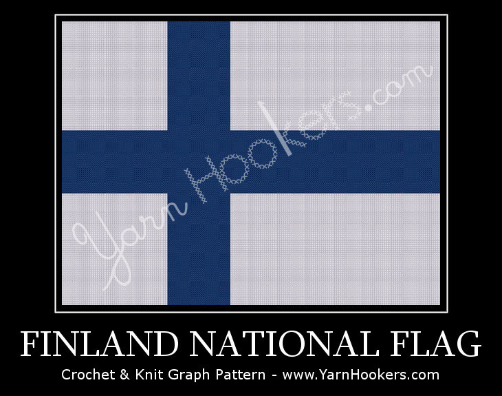 Finland National Flag - Afghan Crochet Graph Pattern Chart by Yarn Hookers.com