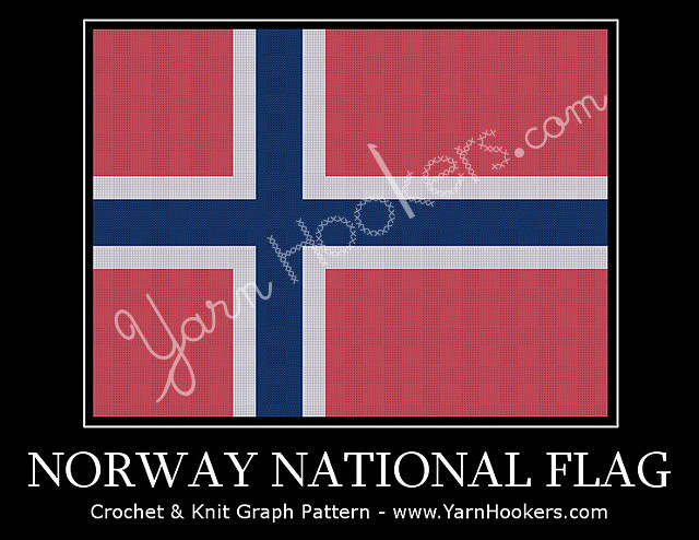 Norway National Flag - Afghan Crochet Graph Pattern Chart by Yarn Hookers.com