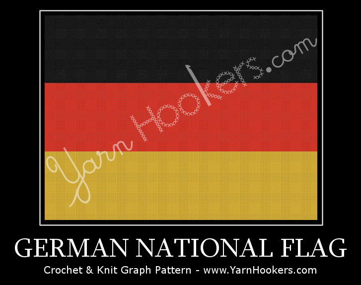 Germany National Flag - Afghan Crochet Graph Pattern Chart by Yarn Hookers.com