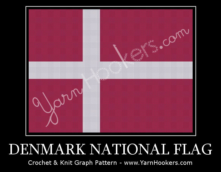 Denmark National Flag - Afghan Crochet Graph Pattern Chart by Yarn Hookers.com
