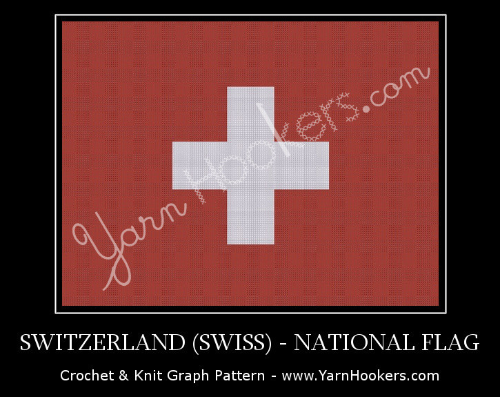 Switzerland (Swiss) National Flag - Afghan Crochet Graph Pattern Chart by Yarn Hookers.com